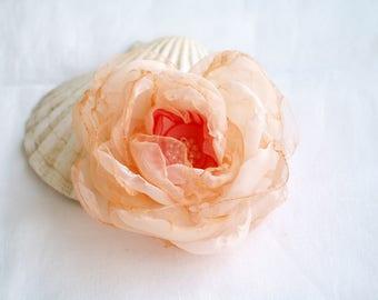Pale peach flower Floral brooch pin Flower hair clip Bridal hair piece Coral peach Mother of bride Boho wedding Flower gift Organza flower