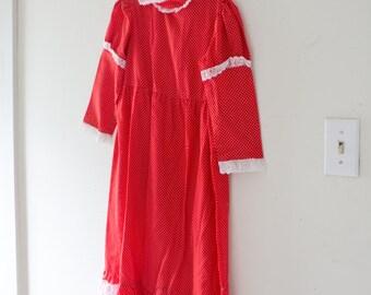 Vintage Girls Red Polka Dot Dress Ruffle Ruffles Lace White Zipper