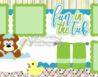 Scrapbook Page Kit Bath Fun in the Tub Bear Duck Boy Baby Toddler 2 page Scrapbook Layout Kit 144