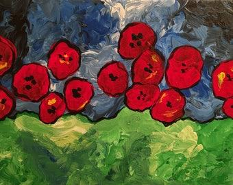Acrylic Poppy Painting