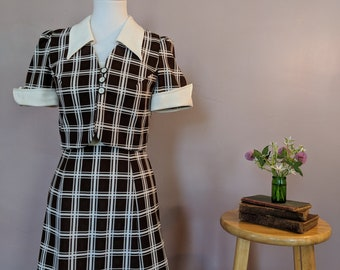Brown and White Plaid Dress with Jacket
