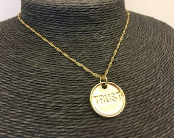 Gold plated circle trust necklace circle