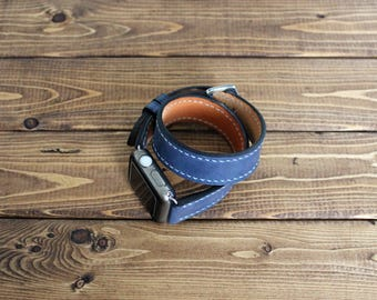 Double Tour Leather Apple Watch band Strap