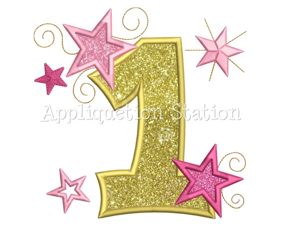 Star Number One 1st Birthday Applique Machine Embroidery