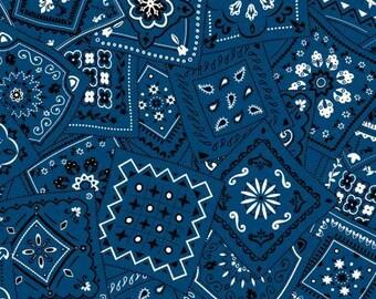 Blue bandana fabric, blue and white bandana  fabric Free Domestic Ship over 50