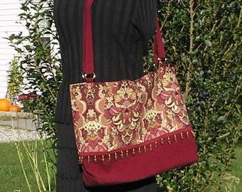 SALE! XL Tote Bag, Market Bag, Adjustable Straps, Beaded Burgundy