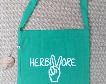 Herbivore Tote Bag ~ 100% Recycled Materials ~ Vegan ~ Ethical ~ Eco-friendly ~ Gender Neutral ~ Hand Drawn