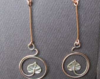 Copper and Sterling Silver Circling Galax Leaf Brutalist  Dangle Earrings