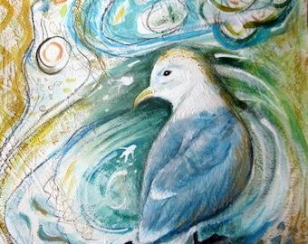 Original Painting, Kittiwake Seagull, mixed media semi abstract bird art, blue seashore, wildlife painting, bird watcher gift