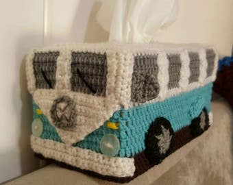 Kombi Van Tissue Box Cover - Crocheted in Customised Colours. Volkswagon VW Hippie Camper Van