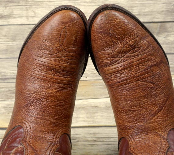 Size 9 EE Mens Wide Brown Leather Extra Boots USA Western Cowboy Nocona Country IYqXRR
