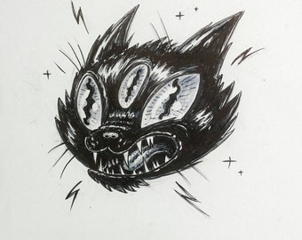 Three-eyed Black Cat Halloween Original Illustration Art Print
