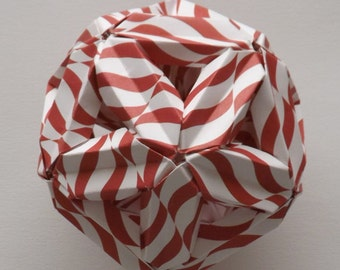 Holiday Red Striped Kusudama