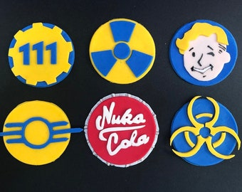 Fallout Gamer Theme Fondant Cupcake Toppers