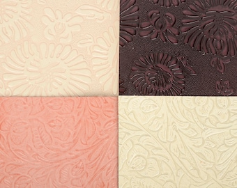 Leather with Western Flower pattern, 6in X 12in or 12in X 12in Size, Cow hides, 2.7T(2.7mm) thickness, Leather crafting MLT-P0000BZI