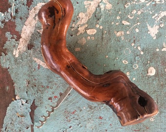 Vintage French Wooden Cork Screw Made in France Wood Branch Cork Screw