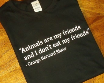 Animals are my friends and I don't eat my friends - Men's black T-shirt