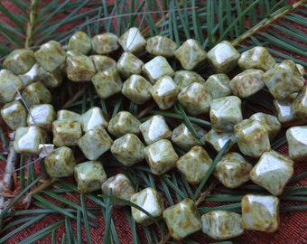 Picasso Czech Glass Beads Diagonal Square Pillow Beads -20-green brown beads dice drilled beads diagonal cube beads