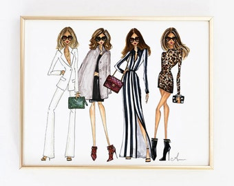 Fashion Illustration Print, Fashion Friends