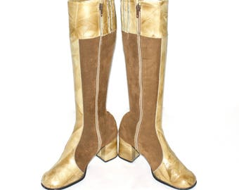 Vintage SBICCA BOOTS Gogo Brown Suede Marbeled Leather 7M