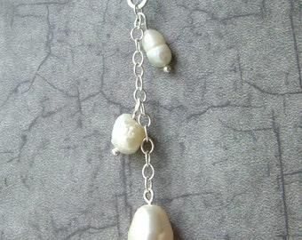 Bridal Pearl Y Necklace-Past, Present, Future - Bride, bridal, wedding, bridesmaid gift