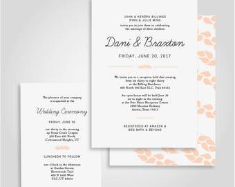 Simple + Modern Blush Pink Nature Wedding Announcement