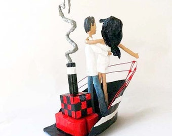 paper mache,wedding gift,free shipping,wedding sculpture,romantic,red,boat,black,white,grey,art,couple,valentine,love sculpture,travel,love.