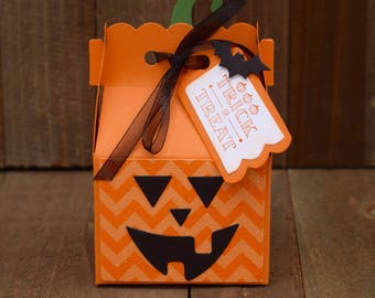 Jack-O-Lantern Treat Box, Halloween Treat Box, Halloween Party Favors, Trick Or Treat Gift Box, Halloween Candy Box, Jack-O-Lantern Favors