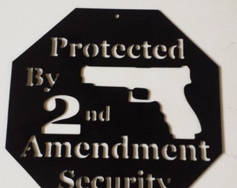 "CNC Plasma ""2nd Amendment"" Auto Handgun Metal Sign Powder Coated or Raw Steel"