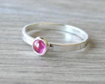 Sterling silver ruby ring pink gemstone stacking ring