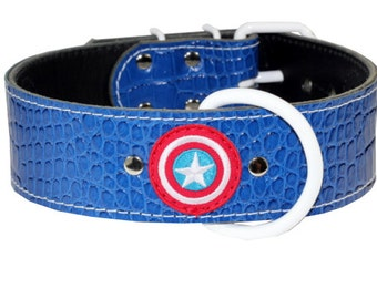 Captain America - Blue Leather Dog Collar - Red White And Blue Leather Dog Collar - Durable Collar - (Made In Ca)