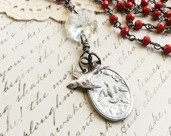 Religious Icons Beaded Necklace - peace dove crystal necklace vintage rosary asemblage necklace charm necklace