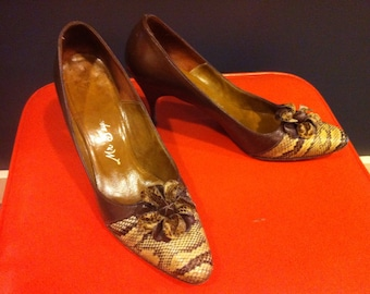 PERFECT PYTHON 1950's 1960's 1960s 1950s Mod Vintage Brown Leather & Snakeskin Reptile Stiletto DESIGNER Heels Net Boy Shoe Salon 7 7 1/2