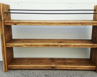 Shoe Rack - Rustic Wood - Reclaimed Wood - Wood Shoe Rack - Boot Rack - Shoe Storage - Porch Storage - Hallway Furniture - Boot Storage