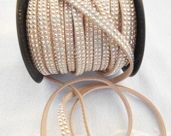 50 cm suede or faux suede beige 5 mm studded silver rhinestone double strand.