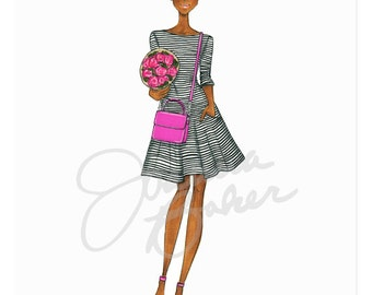 Stripes for Brunch Fashion Illustration Art Print / Fashion Illustration Sketch, Fashion Sketch Art, Fashion Art Print, Fashion Wall Art