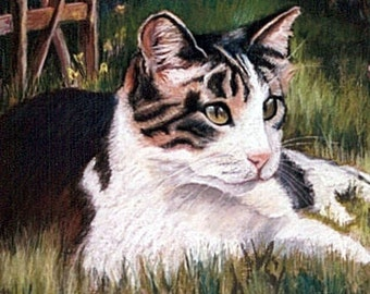 WATCHCAT Matted Giclee Print Cat in the Grass
