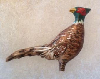 Pheasant Jewelry Pin - handcarved and handpainted