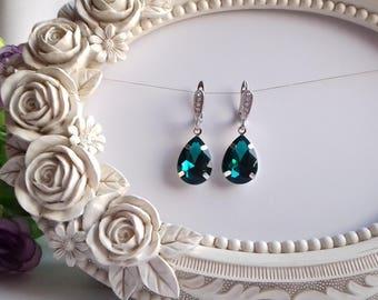 Emerald green earrings Hanging massive Faux drusy earrings Big green earrings holiday emerald rhinesotne teardrop earrings sterling emerald