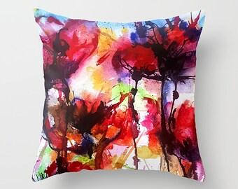 Poppy Pillow, Red Poppy Pillow, Red Poppy Throw Cushion, Floral Pillow, Poppy Flowers Pillow, Accent Pillow, Throw Pillow, Poppy Cushion