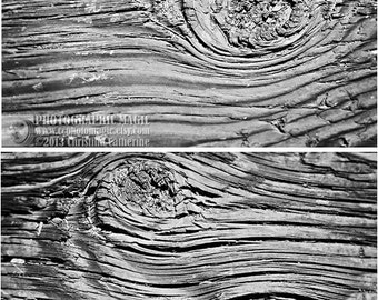 WOOD - set of 2 photograph wall art prints - black white silver old rustic weathered woodgrain texture - nautical beach cottage home decor
