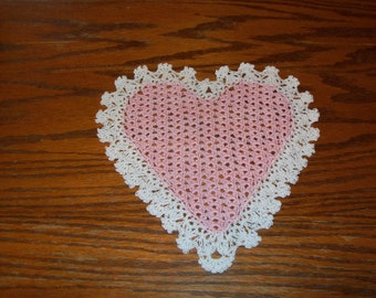 Pink & White Heart Doily - Perfect for Valentine's Day