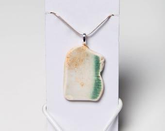 Green & White Thames Pottery Pendant from London - Victorian Beach Porcelain Jewellery - Mudlark Necklace - Sea Beach Glass - British