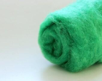 Kelly green wool, carded batt. Needle felting wool, 1 oz, meadow - green wool.  Blend of coopworth + corriedale. Green felting wool.