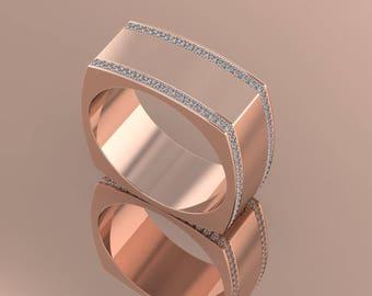 14K Gold Rose Gold  Men's  Ring With  White Diamonds M-MRG1005