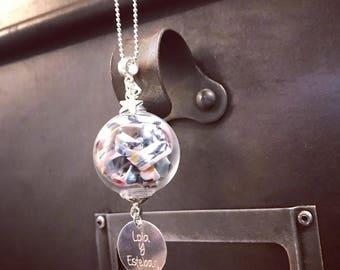 Necklace / Sautoir GLOBE Liberty * custom Creation * with engraving