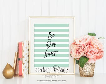 Be Our Guest Mint Green Stripe Wall Art   Printable  Wall Art    Home Decor   Be Our Guest   Wall Art  