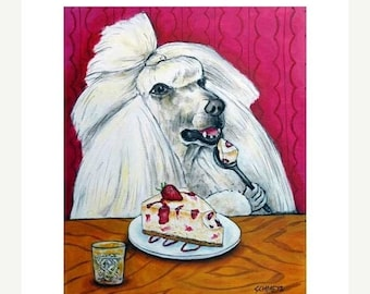 25% off Poodle dog art with cheesecake print poster 11x14
