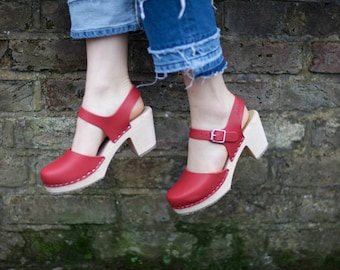 Swedish Clogs Highwood Red Leather by Lotta from Stockholm / Wooden Clogs / Summer Sandals / High Heel / Mary Jane Shoes / Made in Sweden