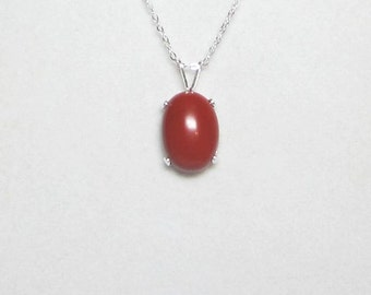 Natural Brick Red Jasper Pendant Necklace Large Stone in Sterling Silver - 14Kt Gold Filled - Sterling Silver Filled